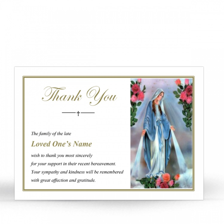 Blessed Virgin Mary Immaculate Conception Online Memorial Acknowledgement Card - MAR14