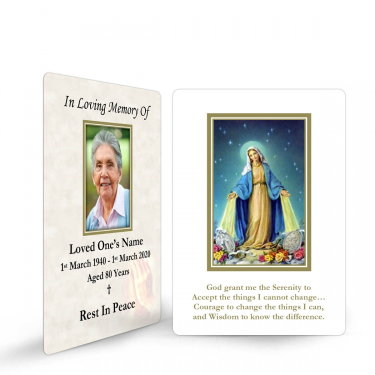 Virgin Mary Immaculate Conception Custom Memorial Laminated Prayer Wallet Card - MAR16