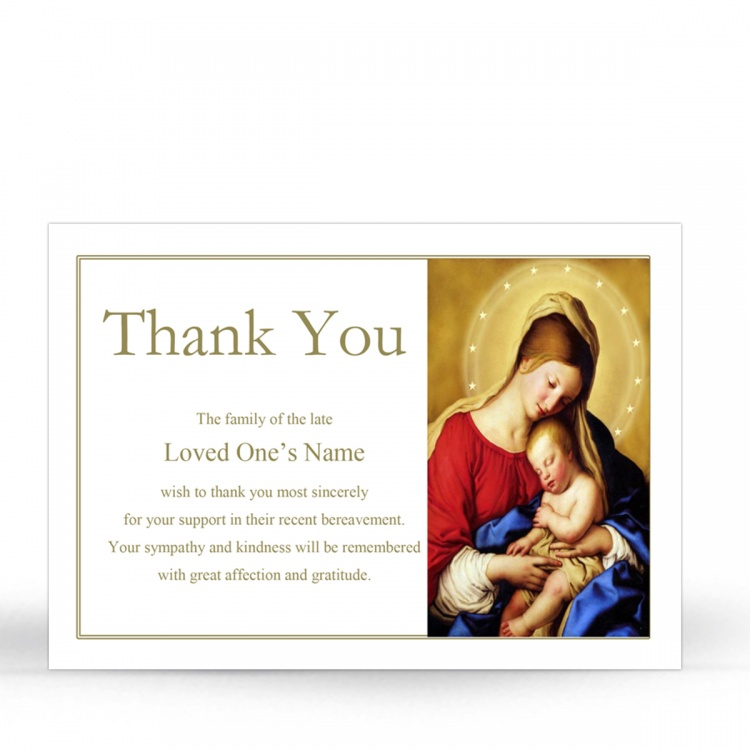 Blessed Virgin Mary & Jesus Traditional Irish Personalised Memorial Acknowledgement Card - MAR17