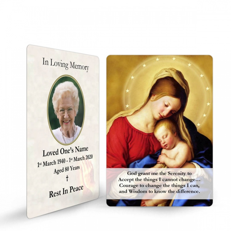 Blessed Virgin Mary & Jesus Traditional Irish Personalised Memorial Laminated Wallet Card - MAR17