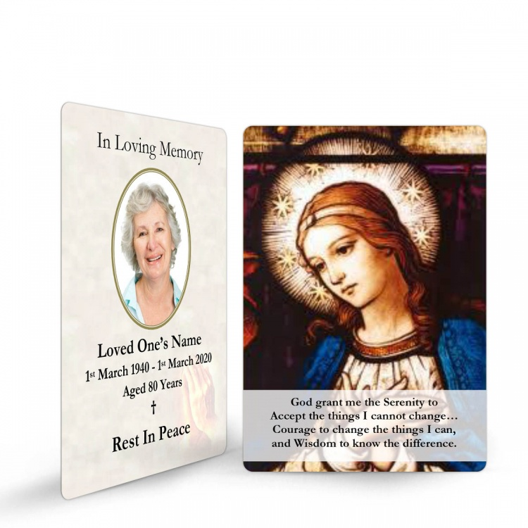 Catholic Online Photo Memorial Wallet Prayer Card with Blessed Virgin Mary Jesus - MAR30