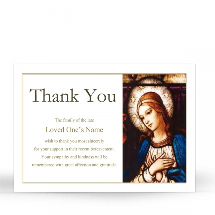 Catholic Online Photo Memorial Thank You Card with Blessed Virgin Mary Jesus - MAR30