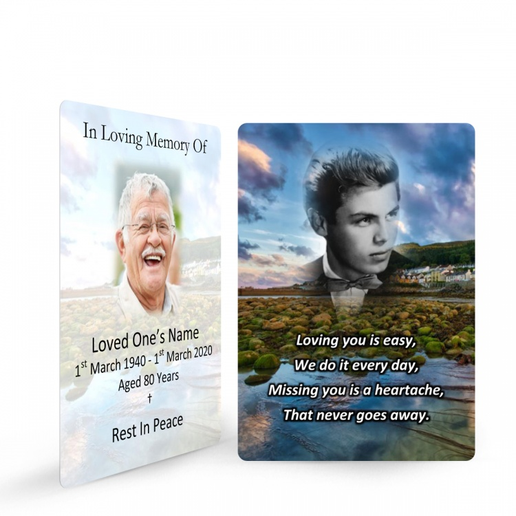 Personalised Bespoke Photo Design Lamimated Memorial Wallet Card by Memorial Card Shop - BES04